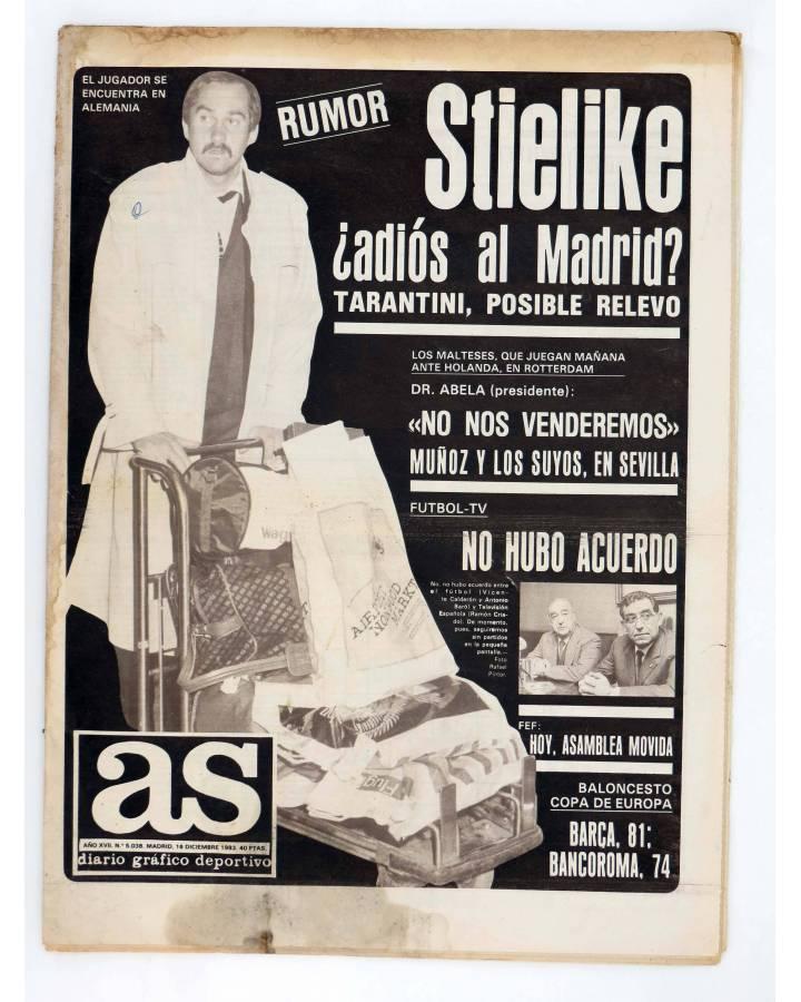 Cubierta de AS DIARIO DEPORTIVO 5038. RUMOR: STIELIKE: ADIOS AL MADRID?. 16 DIC 1983 (Vvaa) As 1983