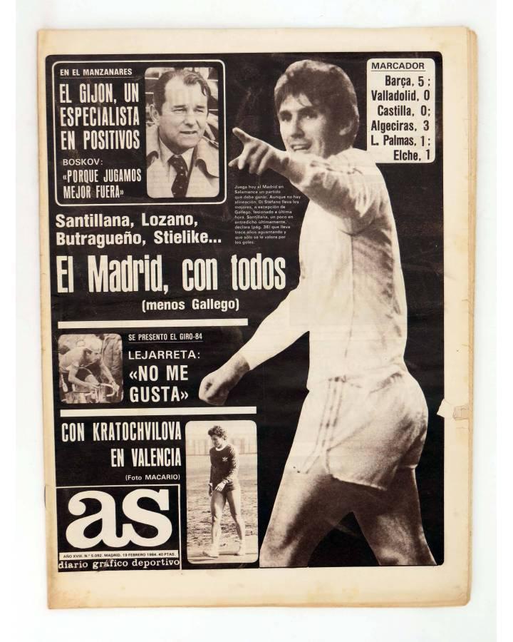 Cubierta de AS DIARIO DEPORTIVO 5092. EL MADRID CON TODOS MENOS GALLEGO. 19 FEB 1984 (Vvaa) As 1984