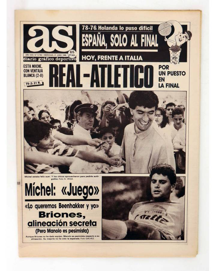 Cubierta de AS DIARIO DEPORTIVO 6784. REAL – ATLETICO: UN PUESTO EN LA FINAL. 21 JUNIO 1989 (Vvaa) As 1989