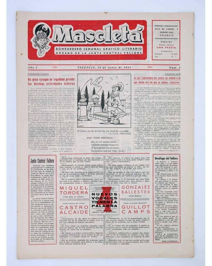 Cubierta de MASCLETA BOMBARDERO SEMANAL GRÁFICO LITERARIO 7. 12 junio 1952 (Vvaa) Guerri 1952