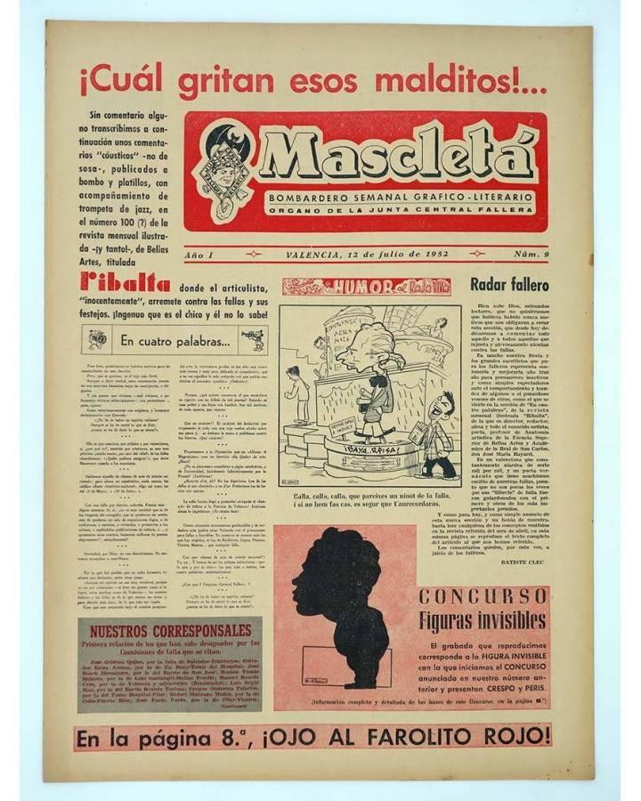 Cubierta de MASCLETA BOMBARDERO SEMANAL GRÁFICO LITERARIO 9. 12 Julio 1952 (Vvaa) Guerri 1952
