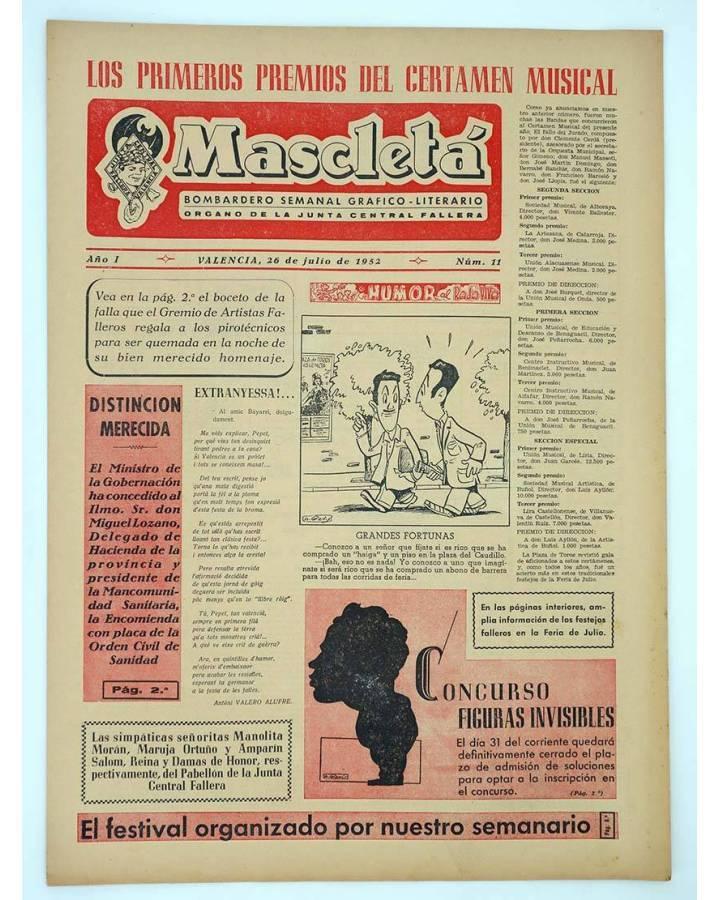 Cubierta de MASCLETA BOMBARDERO SEMANAL GRÁFICO LITERARIO 11. 26 Julio 1952 (Vvaa) Guerri 1952