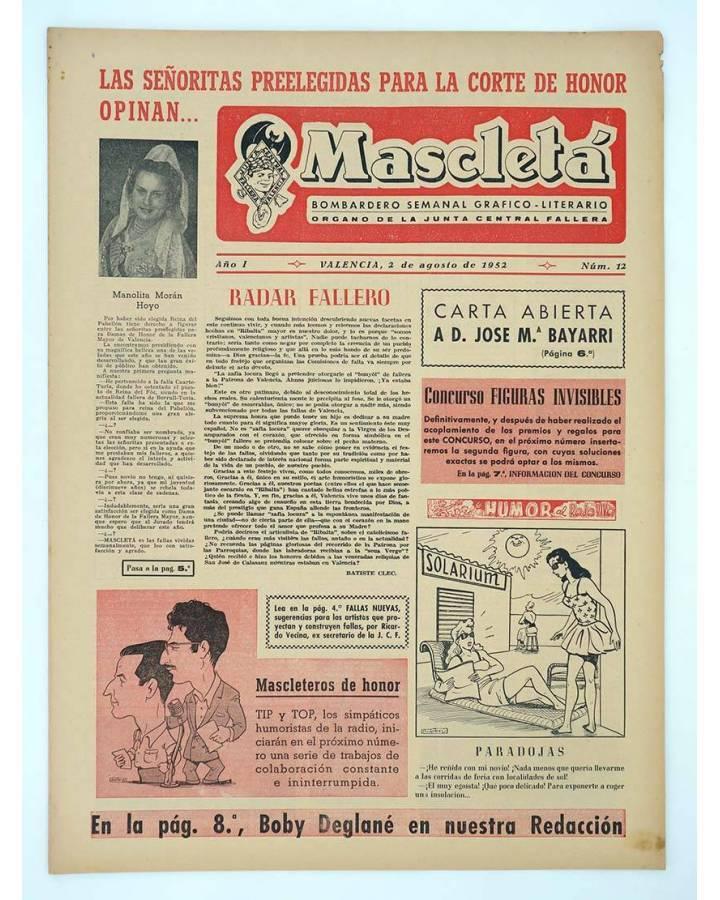 Cubierta de MASCLETA BOMBARDERO SEMANAL GRÁFICO LITERARIO 12. 2 Agosto 1952 (Vvaa) Guerri 1952