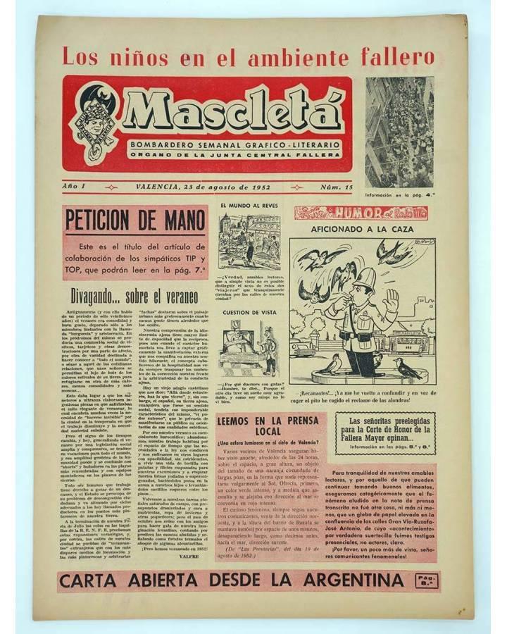 Cubierta de MASCLETA BOMBARDERO SEMANAL GRÁFICO LITERARIO 15. 23 Agosto 1952 (Vvaa) Guerri 1952