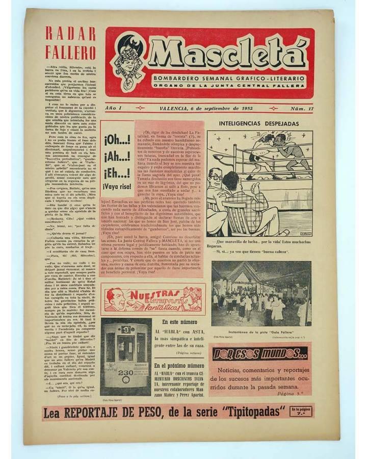 Cubierta de MASCLETA BOMBARDERO SEMANAL GRÁFICO LITERARIO 17. 12 junio 1952 (Vvaa) Guerri 1952