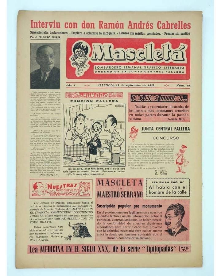 Cubierta de MASCLETA BOMBARDERO SEMANAL GRÁFICO LITERARIO 18 (Vvaa) Guerri 1952