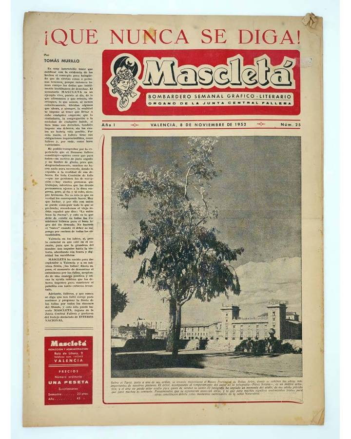 Cubierta de MASCLETA BOMBARDERO SEMANAL GRÁFICO LITERARIO 25. 8 Nov 1952 (Vvaa) Guerri 1952