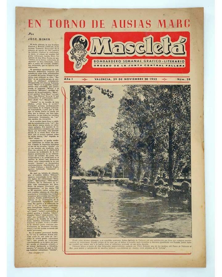 Cubierta de MASCLETA BOMBARDERO SEMANAL GRÁFICO LITERARIO 28. 29 Nov 1952 (Vvaa) Guerri 1952