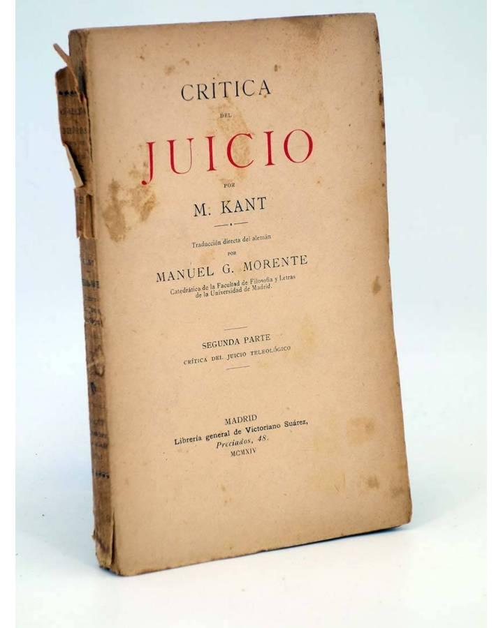 Cubierta de CRÍTICA DEL JUICIO (Manuel Kant) Victoriano Suárez 1914