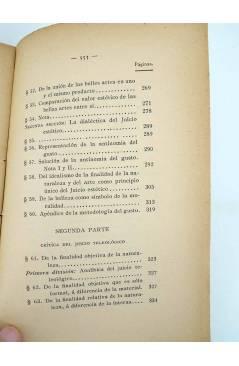 Contracubierta de CRÍTICA DEL JUICIO (Manuel Kant) Victoriano Suárez 1914