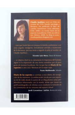 Contracubierta de DIARIO DE LAS ESPECIES (Claudia Alpablaza) Barataria 2010
