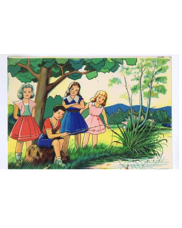 Cubierta de LITOGRAFÍA JUGUETE ROMPECABEZAS NIÑAS PESCANDO 165X125 cm (No Acreditado) Archer 1950
