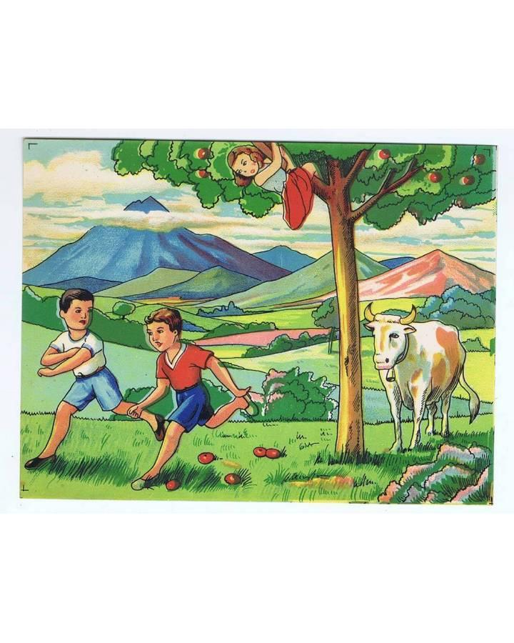 Cubierta de LITOGRAFÍA JUGUETE ROMPECABEZAS NIÑOS HUYENDO DE VACA 165X125 cm (No Acreditado) Archer 1950