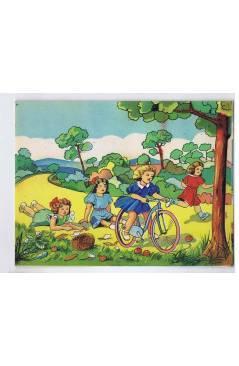 Cubierta de LITOGRAFÍA JUGUETE ROMPECABEZAS NIÑA EN BIBICLETA 165X125 cm (No Acreditado) Archer 1950