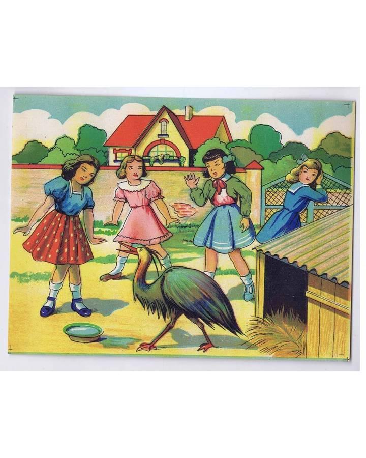Cubierta de LITOGRAFÍA JUGUETE ROMPECABEZAS NIÑAS CON AVE 165X125 cm (No Acreditado) Archer 1950