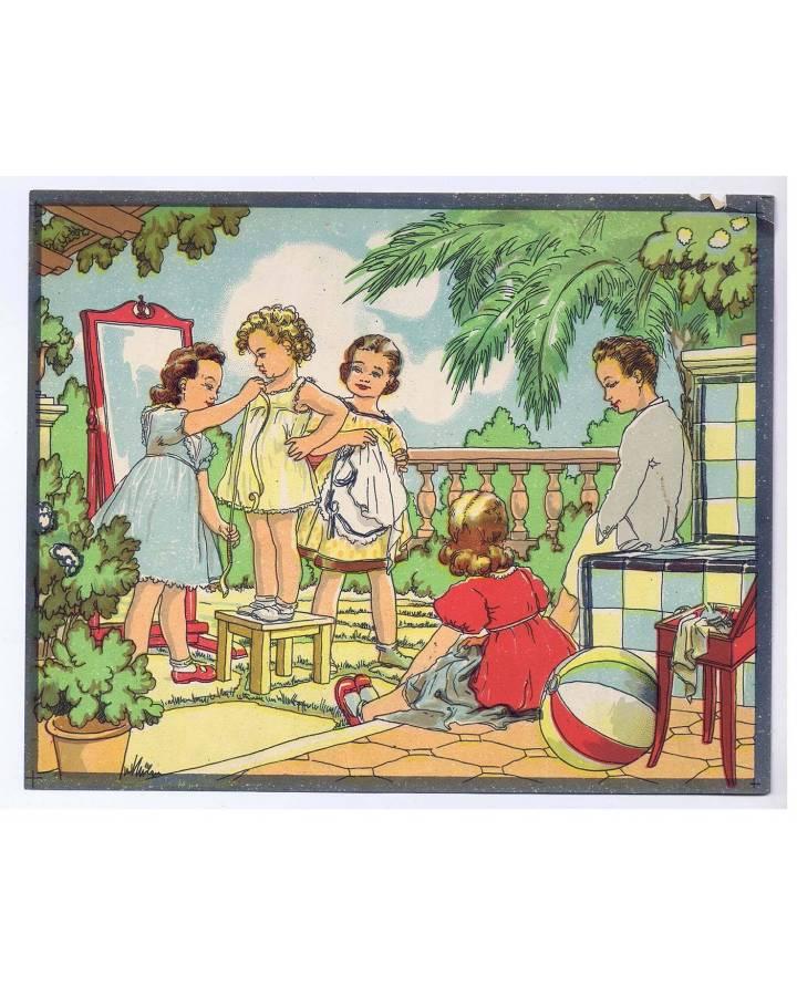 Cubierta de LITOGRAFÍA JUGUETE ROMPECABEZAS NIÑAS MODISTAS 225X18 cm (No Acreditado) Archer 1950