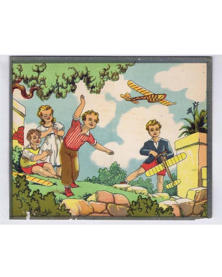 Cubierta de LITOGRAFÍA JUGUETE ROMPECABEZAS NIÑOS CON AVIONES DE JUGUETE 225X18 cm (No Acreditado) Archer 1950