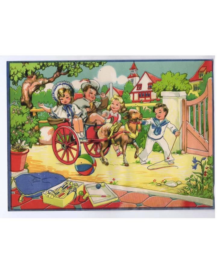 Cubierta de LITOGRAFÍA JUGUETE ROMPECABEZAS CARRUAJE Y CABRA 305X22 cm (No Acreditado) Archer 1950