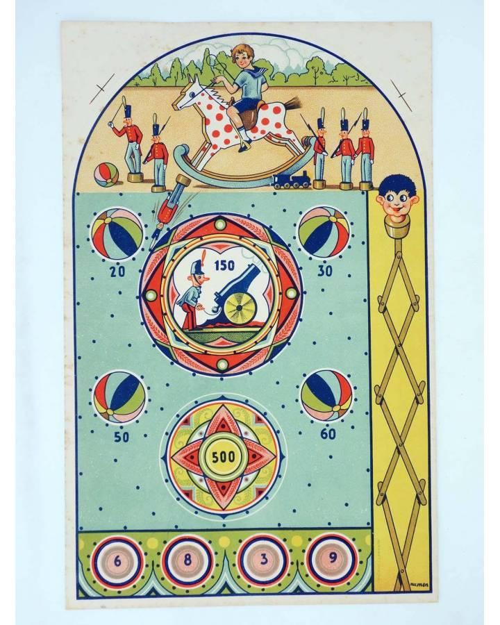 Cubierta de LITOGRAFÍA JUGUETE PINBALL SOLDADITOS. 395X25 Cm. Dibujo de Numen (No Acreditado) Archer 1950
