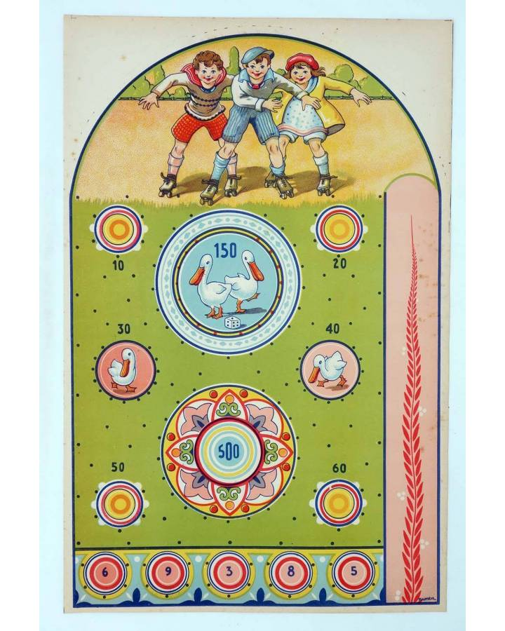 Cubierta de LITOGRAFÍA JUGUETE PINBALL MOD 3. 455x295 cm. Dibujo de Numen (No Acreditado) Archer 1950