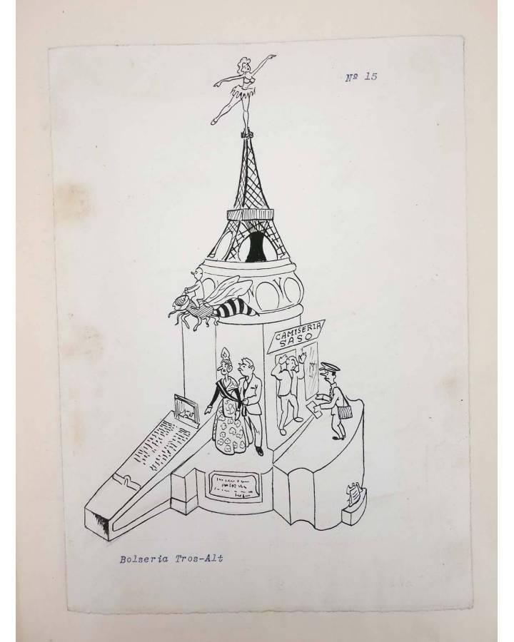Cubierta de DIBUJO ORIGINAL 34X22 CM FALLAS VALENCIA 1954 15. BOLSERÍA TROS ALT (No Acreditado) Valencia 1954