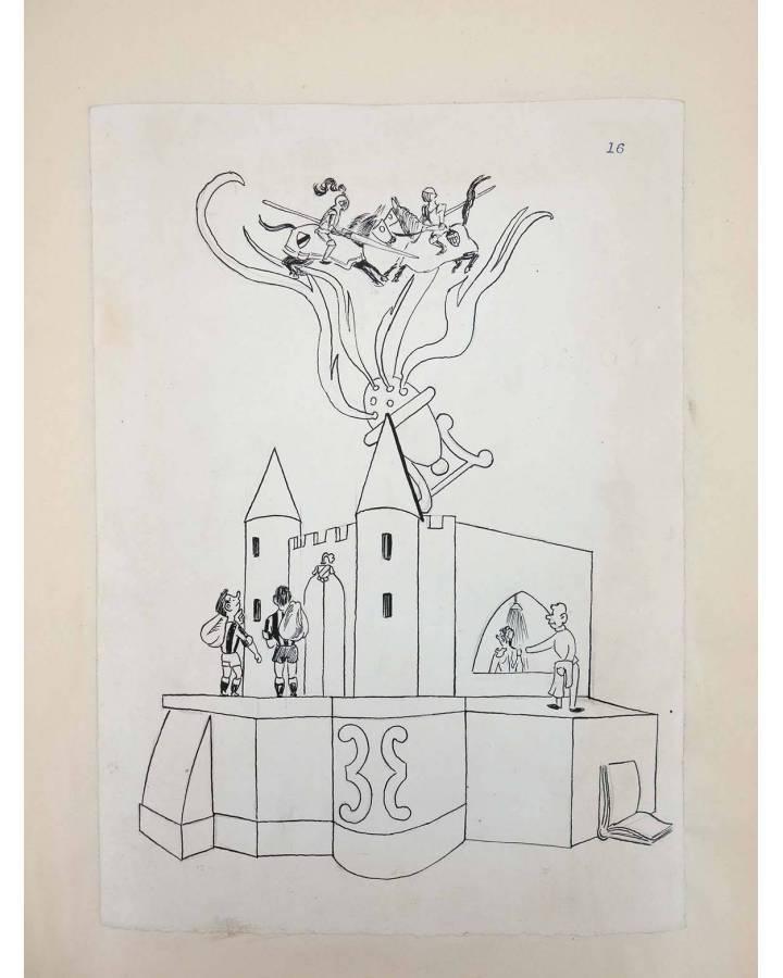Cubierta de DIBUJO ORIGINAL 34X22 CM FALLAS VALENCIA 1954 16. SIN NOMBRE (No Acreditado) Valencia 1954