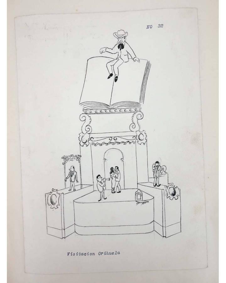 Cubierta de DIBUJO ORIGINAL 34X22 CM FALLAS VALENCIA 1954 32. VISITACIÓN – ORIHUELA (No Acreditado) Valencia 1954