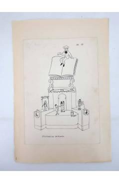 Contracubierta de DIBUJO ORIGINAL 34X22 CM FALLAS VALENCIA 1954 32. VISITACIÓN – ORIHUELA (No Acreditado) Valencia 1954