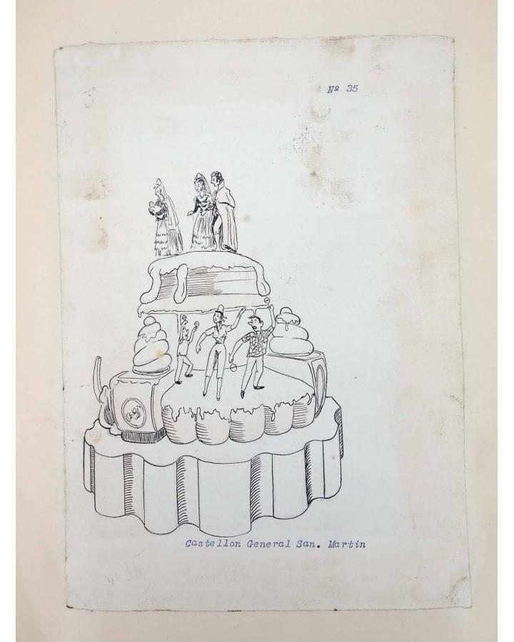 Cubierta de DIBUJO ORIGINAL 34X22 CM FALLAS VALENCIA 1954 35. CASTELLÓN – SAN MARTÍN COLOREADO EN REVERSO (No Acreditado