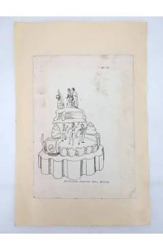 Contracubierta de DIBUJO ORIGINAL 34X22 CM FALLAS VALENCIA 1954 35. CASTELLÓN – SAN MARTÍN COLOREADO EN REVERSO (No Acre