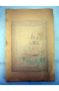 Muestra 1 de DIBUJO ORIGINAL 34X22 CM FALLAS VALENCIA 1954 35. CASTELLÓN – SAN MARTÍN COLOREADO EN REVERSO (No Acreditad