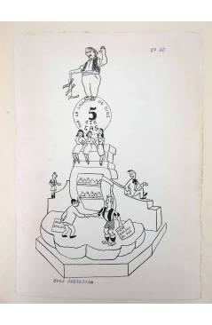 Cubierta de DIBUJO ORIGINAL 34X22 CM FALLAS VALENCIA 1954 48. CRUZ DE MISLATA (No Acreditado) Valencia 1954