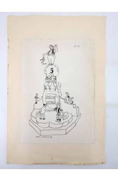Contracubierta de DIBUJO ORIGINAL 34X22 CM FALLAS VALENCIA 1954 48. CRUZ DE MISLATA (No Acreditado) Valencia 1954