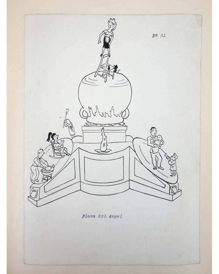 Cubierta de DIBUJO ORIGINAL 34X22 CM FALLAS VALENCIA 1954 51. PLAZA DEL ÁNGEL (No Acreditado) Valencia 1954
