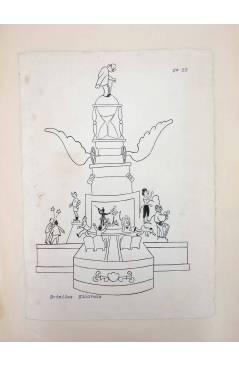 Cubierta de DIBUJO ORIGINAL 34X22 CM FALLAS VALENCIA 1954 53. BOTELLAS – EIXARCHS (No Acreditado) Valencia 1954