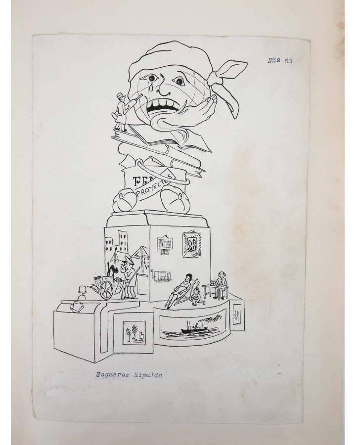 Cubierta de DIBUJO ORIGINAL 34X22 CM FALLAS VALENCIA 1954 63. SOGUEROS RIPALDA (No Acreditado) Valencia 1954