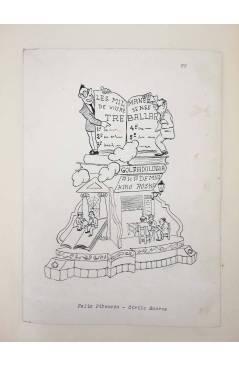 Cubierta de DIBUJO ORIGINAL 34X22CM FALLAS VALENCIA 1954 65. FÉLIZ PIZCUETA – CIRILO AMORÓS. COLOR EN REVERSO (No Acredi