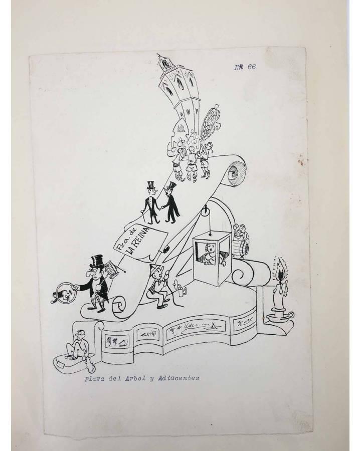 Cubierta de DIBUJO ORIGINAL 34X22 CM FALLAS VALENCIA 1954 66. PLAZA DEL ÁRBOL Y ADYACENTES (No Acreditado) Valencia 1954