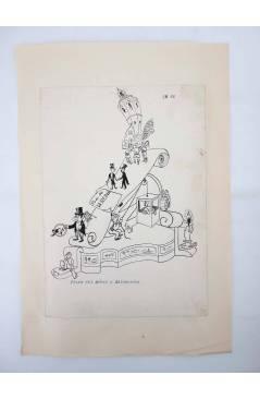 Contracubierta de DIBUJO ORIGINAL 34X22 CM FALLAS VALENCIA 1954 66. PLAZA DEL ÁRBOL Y ADYACENTES (No Acreditado) Valenci
