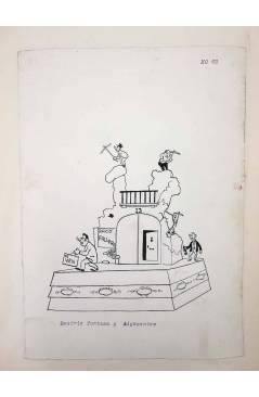Cubierta de DIBUJO ORIGINAL 34X22 CM FALLAS VALENCIA 1954 69. BEATRIZ TORTOSA Y ADYACENTES (No Acreditado) Valencia 1954