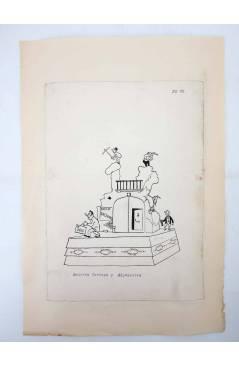 Contracubierta de DIBUJO ORIGINAL 34X22 CM FALLAS VALENCIA 1954 69. BEATRIZ TORTOSA Y ADYACENTES (No Acreditado) Valenci