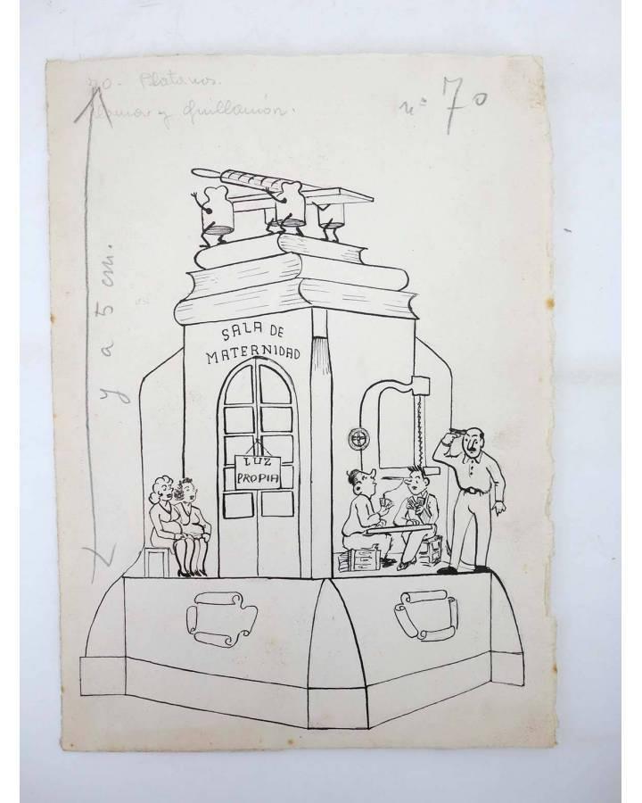 Cubierta de DIBUJO ORIGINAL 235X17 CM FALLAS VALENCIA 1954 70. PLÁTANOS (No Acreditado) Valencia 1954