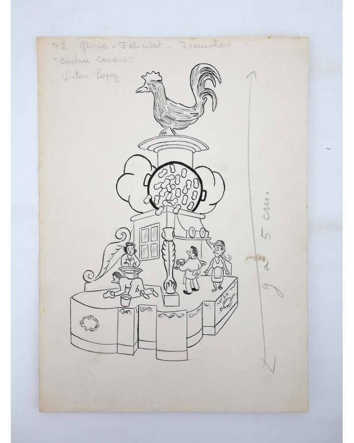 Cubierta de DIBUJO ORIGINAL 235X17CM FALLAS VALENCIA 1954 72. GLORIA – FELICITAT – TREMOLAR (No Acreditado) Valencia 195