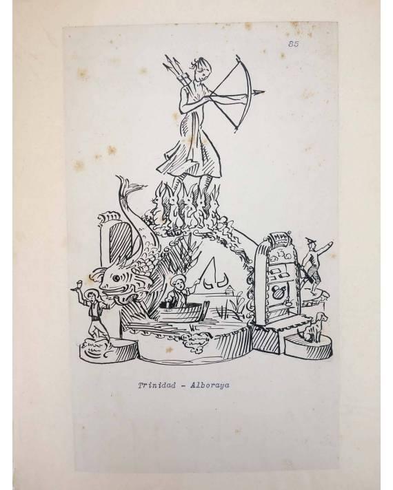 Cubierta de DIBUJO ORIGINAL 34X22 CM FALLAS VALENCIA 1954 85. TRINIDAD – ALBORAYA (No Acreditado) Valencia 1954