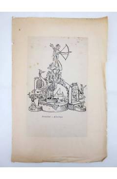 Contracubierta de DIBUJO ORIGINAL 34X22 CM FALLAS VALENCIA 1954 85. TRINIDAD – ALBORAYA (No Acreditado) Valencia 1954