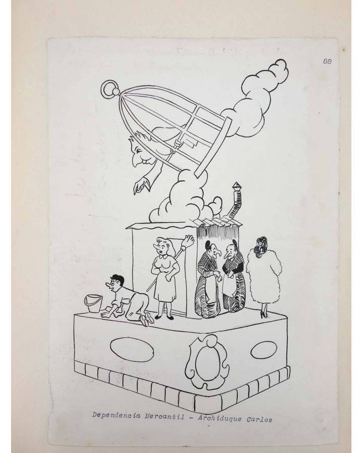 Cubierta de DIBUJO ORIGINAL 34X22 CM FALLAS VALENCIA 1954 88. DEPENDENCIA MERCANTIL – ARCHIDUQUE CARLOS (No Acreditado)