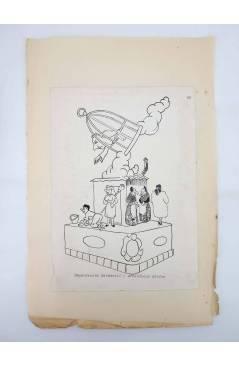 Contracubierta de DIBUJO ORIGINAL 34X22 CM FALLAS VALENCIA 1954 88. DEPENDENCIA MERCANTIL – ARCHIDUQUE CARLOS (No Acredi