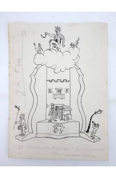 Cubierta de DIBUJO ORIGINAL 235X17 CM FALLAS VALENCIA 1954 89. ALFONSO GIMÉNEZ COLLADO (No Acreditado) Valencia 1954