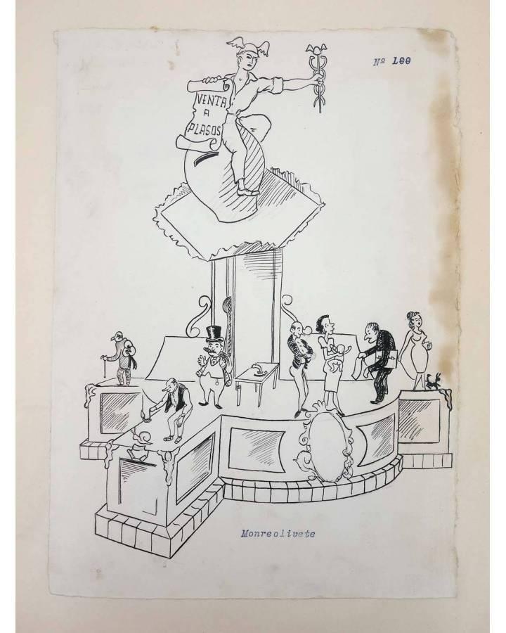 Cubierta de DIBUJO ORIGINAL 34X22 CM FALLAS VALENCIA 1954 100. MONTEOLIVETE (No Acreditado) Valencia 1954