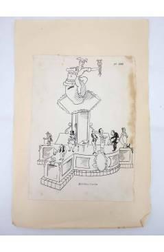 Contracubierta de DIBUJO ORIGINAL 34X22 CM FALLAS VALENCIA 1954 100. MONTEOLIVETE (No Acreditado) Valencia 1954